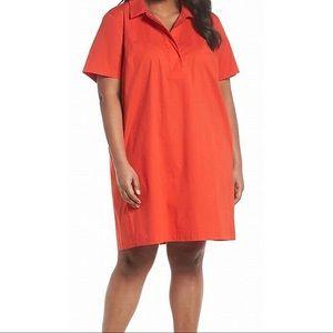 EILEEN FISHER Red Poplin Cotton Shirt Dress Plus